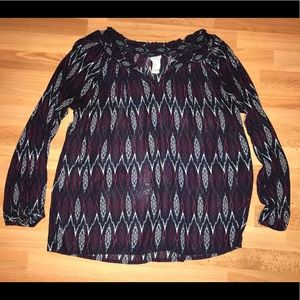 Forever 21 Sheer 3/4 Sleeve Top Size Small